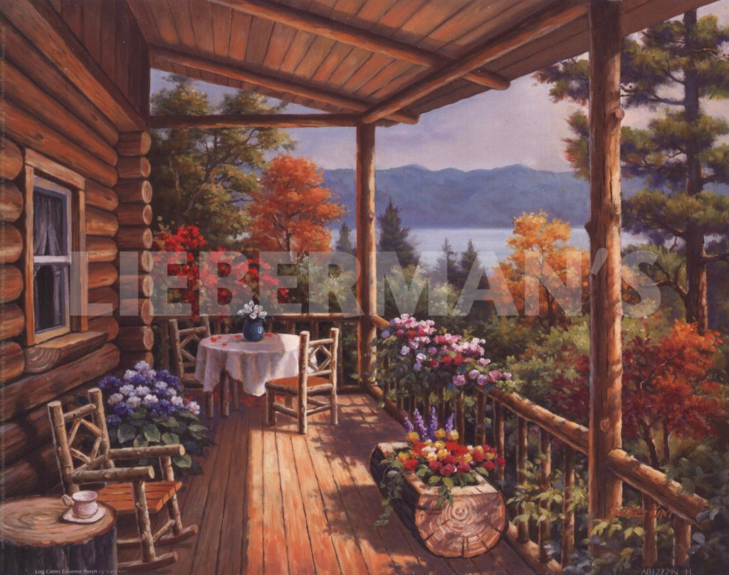 Log cabin covered porch art print at for Log cabin painting