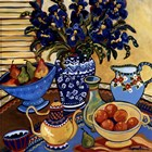 Blue And White With Oranges by Suzanne Etienne art print