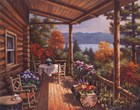 Log Cabin Covered Porch by Sung Kim art print