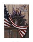 Flag with Purple Flowers by T.C. Chiu art print