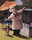Barbecue Chef and Dog by T.C. Chiu art print