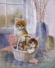 Flower Basket with Cats by Ruane Manning art print